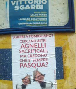 Manifesti choc a Pomigliano di Sgarbi con la testa mozzata