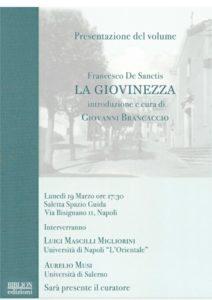 Giovanni Brancaccio presenta il libro La giovinezza di Francesco De Sanctis