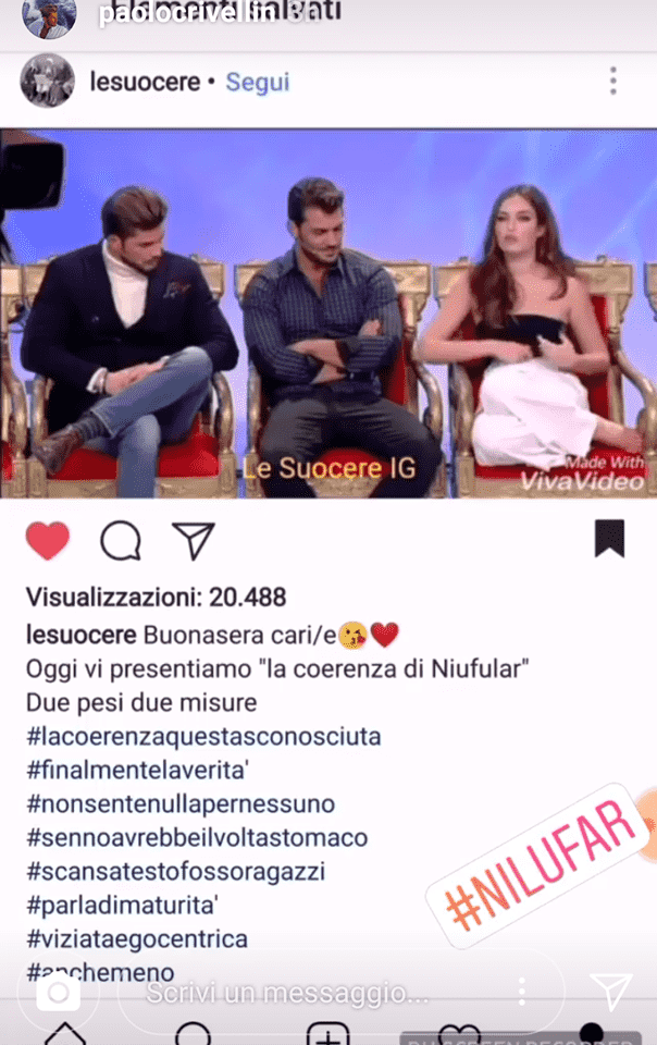 Uomini e Donne, Paolo Crivellin punzecchia Nilufar su Instagram