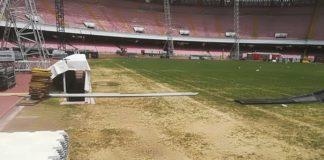 Stadio San Paolo, danni al terreno di gioco dopo il concerto 'Pino è'