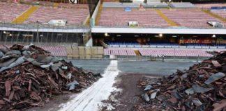 Calcio Napoli, caos San Paolo: lavori in… corsa