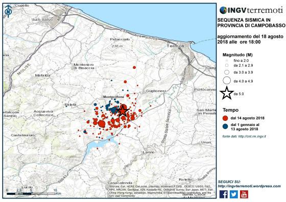 Terremoto, Ingv: 160 scosse localizzati nell'area del Molise