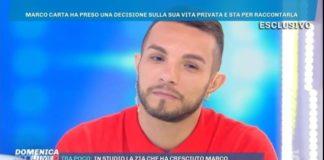 """Marco Carta, outing a Domenica Live: """"Sono gay e fidanzato"""""""