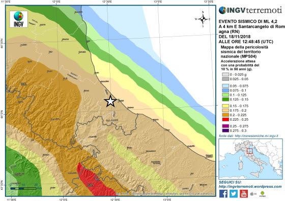 Terremoto in provincia di Rimini di magnitudo 4.2