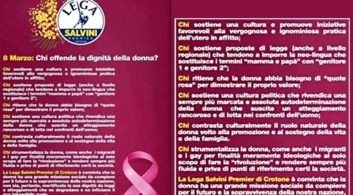 """Lega, volantino sessista a Crotone: """"Ruolo naturale delle donne è in famiglia"""""""