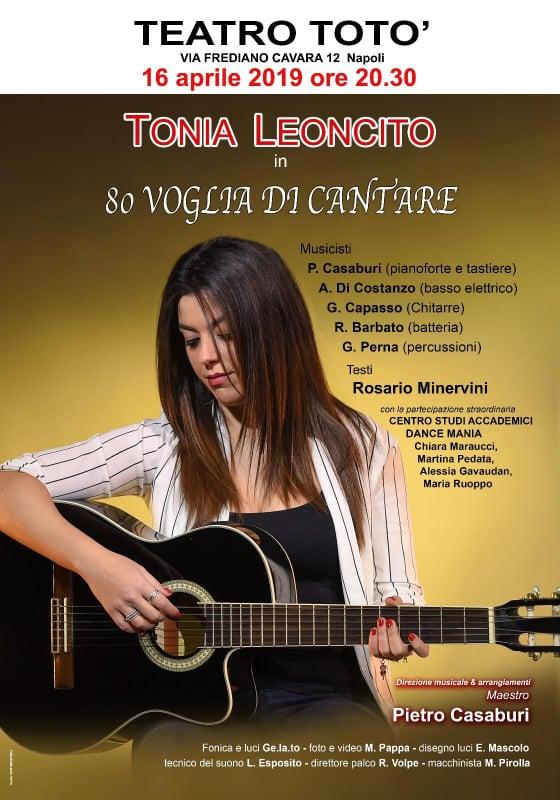 """Tonia Leoncito al Teatro Totò con """"80 voglia di cantare"""""""