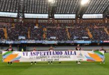 Universiade 2019: Al San Paolo uno striscione degli azzurri per il grande evento sportivo