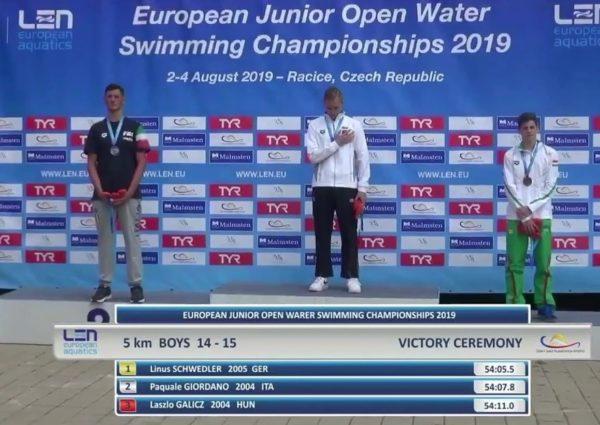 Nuoto, Pasquale Giordano del Canottieri Napoli vince l'argento al Campionato Europeo Racice 2019