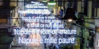 Rione Sanità: splendide luminarie con le parole di Napule è di Pino Daniele