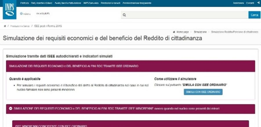 Calcolo reddito di cittadinanza e pensione: online un simulatore dell'Inps