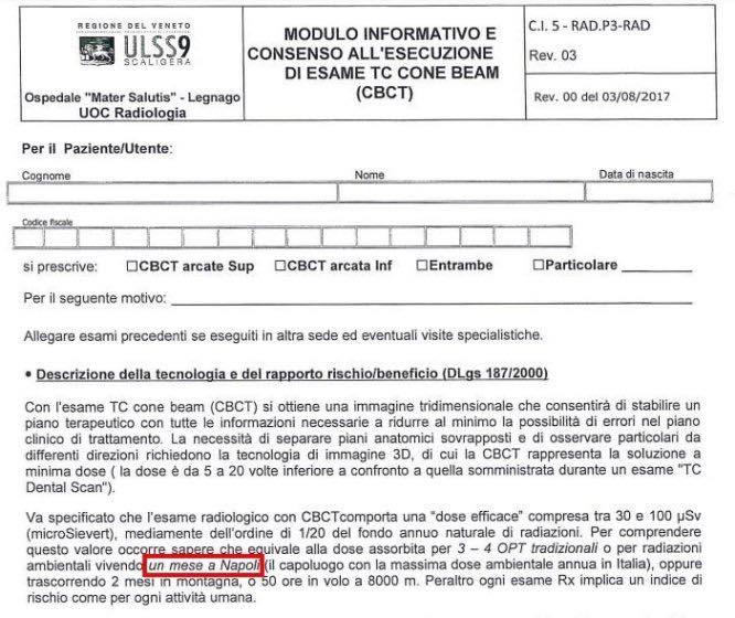 Asl di Verona usa Napoli come metro negativo per gli effetti delle radiazioni