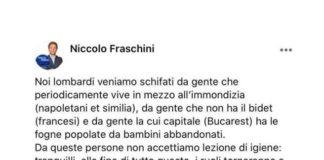 Il post razzista del consigliere di Pavia Niccolò Fraschini contro Napoli