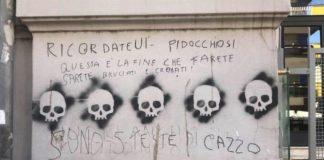 """Vomero, scritte choc con teschi in via Luca Giordano: """"Sarete bruciati e cremati"""""""