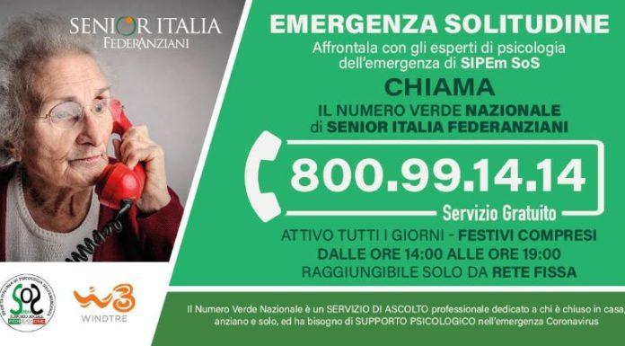 Coronavirus, Senior Italia, WINDTRE e SIPEm: un numero verde per anziani soli