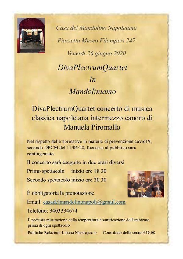 Mandoliniamo: venerdì 26 giugno Diva Plectrum Quartet in concerto