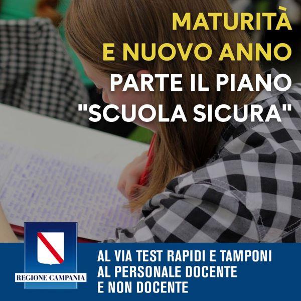 Campania, ecco Scuola sicura: test rapidi e tamponi per tutt