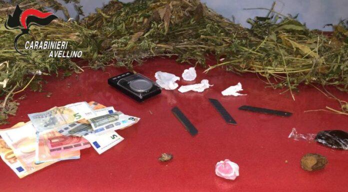 Solofra, sequestro di hashish e marijuana: un arresto e due denunce