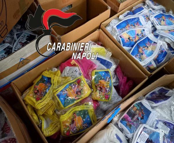Terzigno, trovati 2000 capi d'abbigliamento e 7000 mascherine contraffatte: denunciata una 70enne