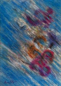 blue sky n.5 70x50cm pastelli a olio su cartone