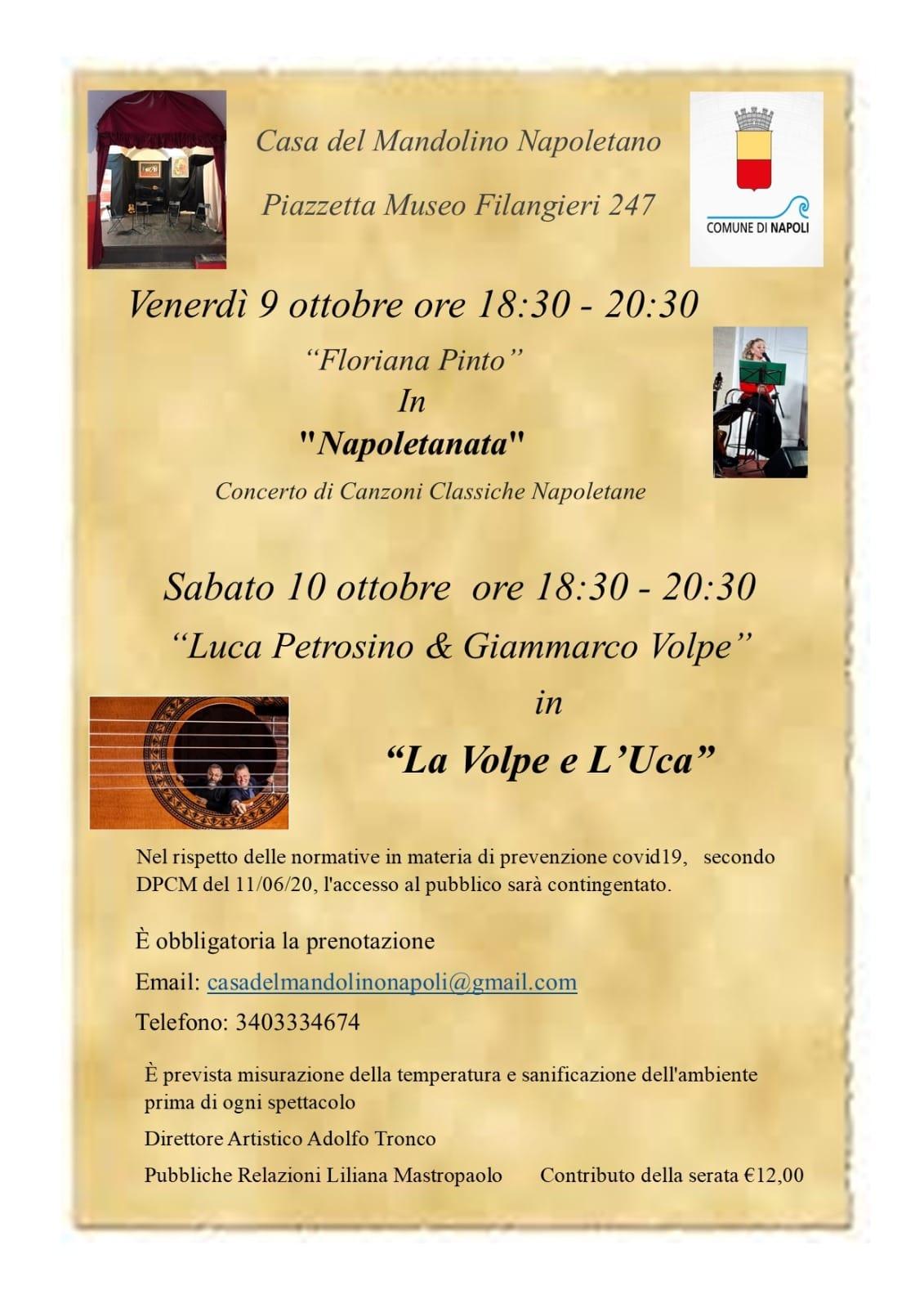 Casa del Mandolino Napoletano, due eventi nel weekend: Napoletanata e La Volpe e L'Uca