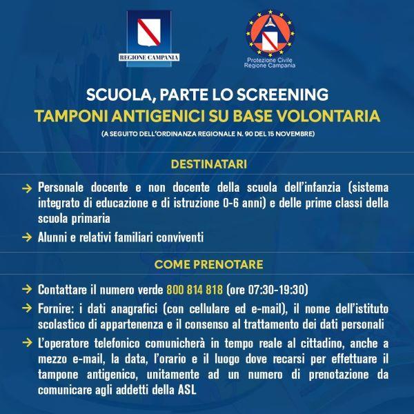 Covid 19 in Campania, screening volontario per il personale scolastico: al via le prenotazioni