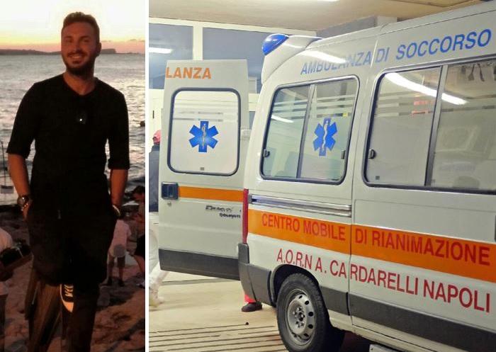 Ospedale Cardarelli, ambulanza in nome di Mariano Panariello