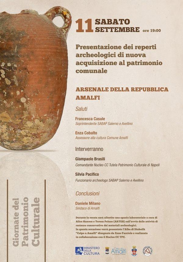 Amalfi: 110 reperti archeologici dai fondali marini arricchiranno il museo dell'Arsenale